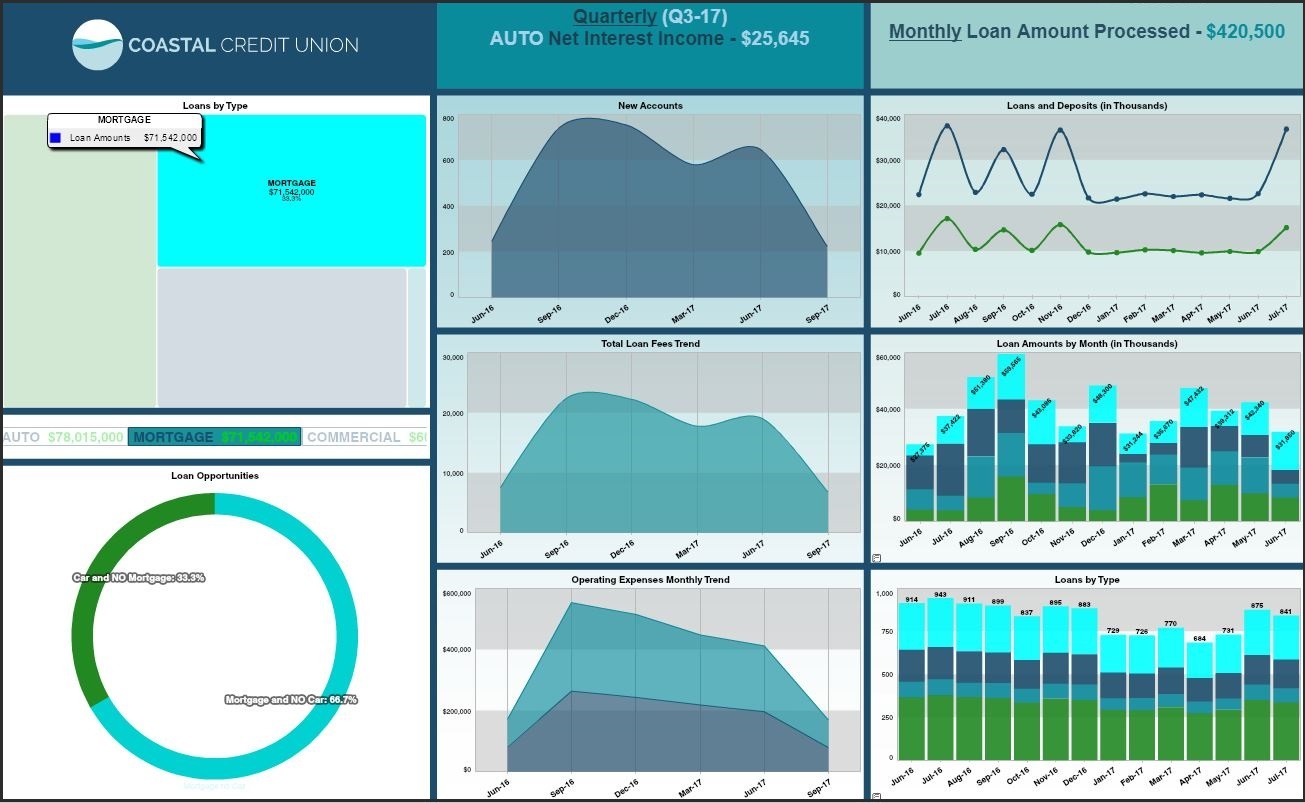 Credit Union Loans Dashboard Example